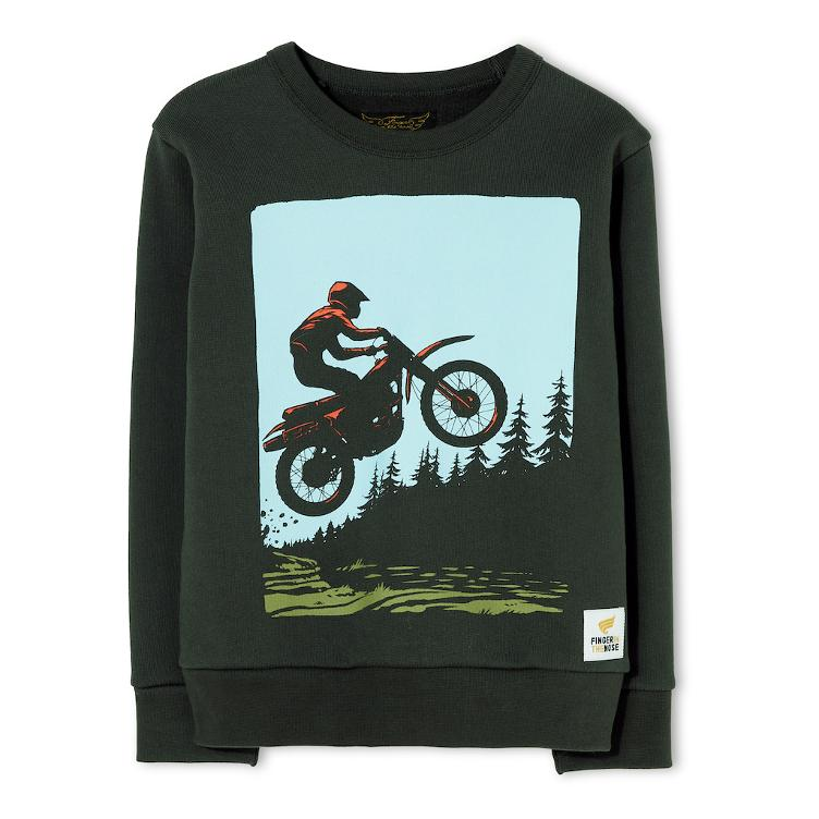 Brian Moto Crew Neck Sweater - ash black