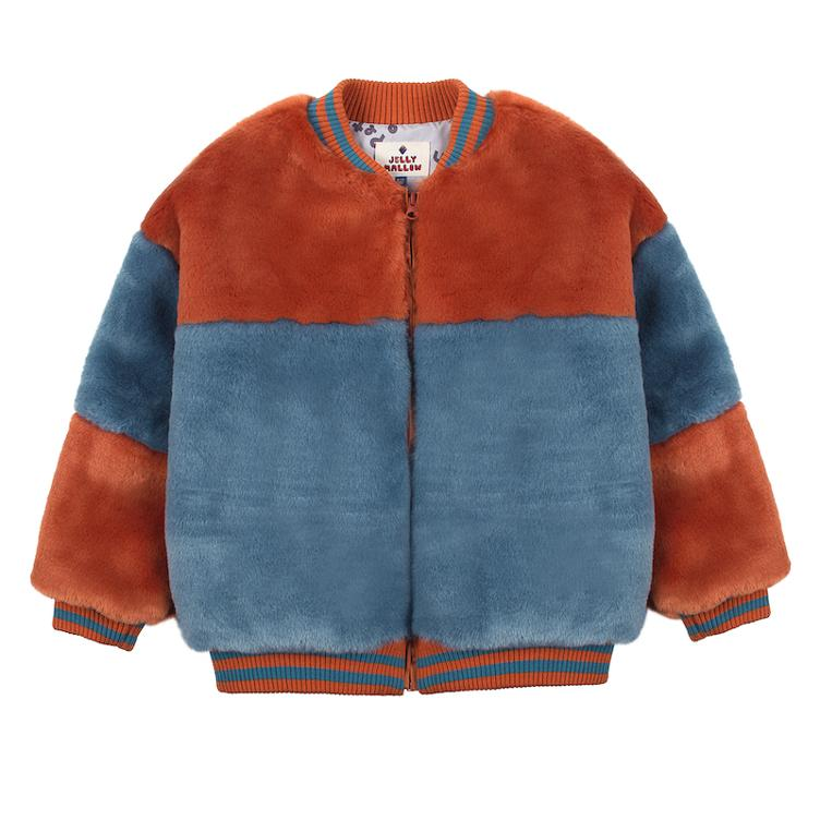 Fake Fur Jacke - brick & blue
