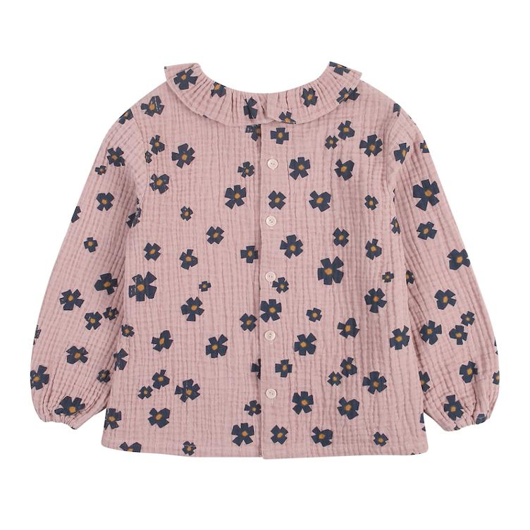Flower Frill Bluse - pink - 0