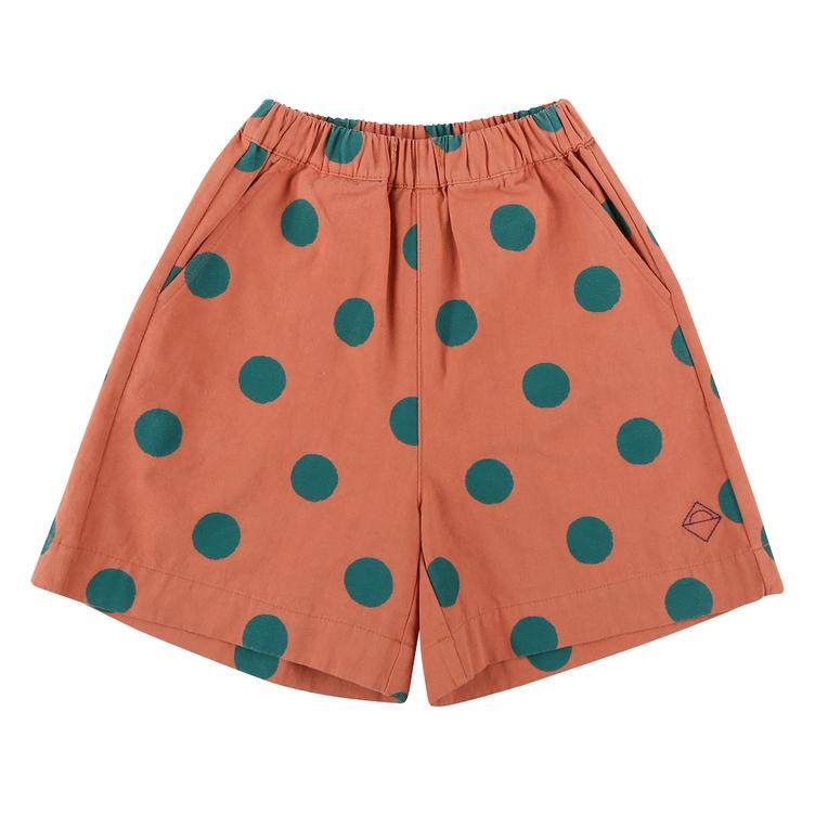 Green dotted Shorts - brick red