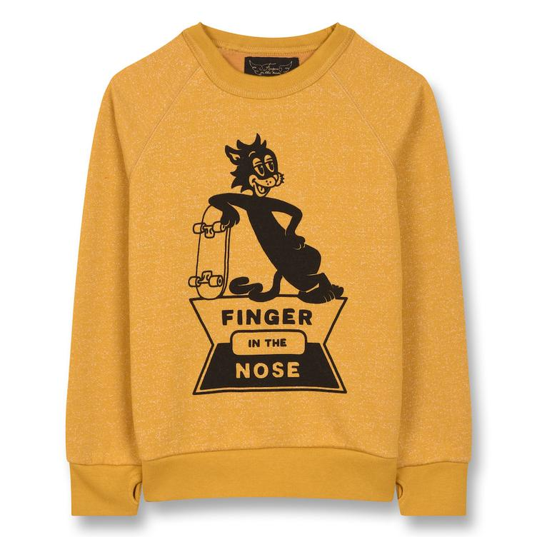 Hank Skate Cat Crew Neck Sweatshirt - Heather Mustard