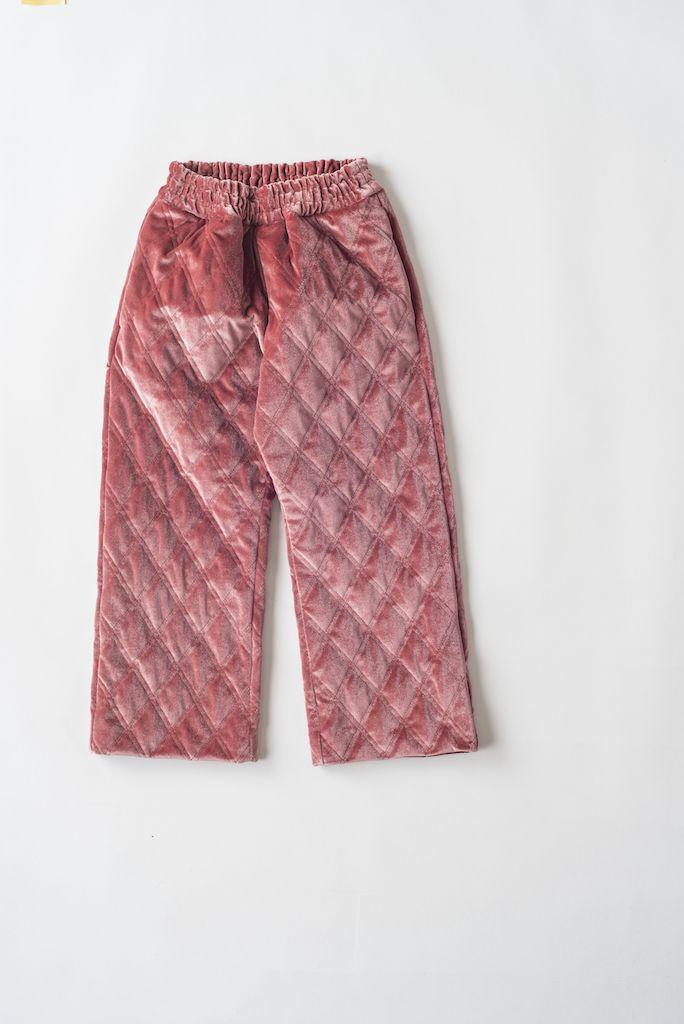 Hose, Quilted Velour, rosa