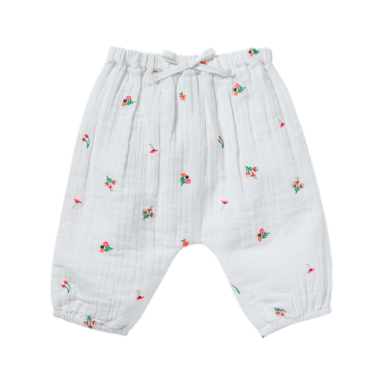Hose Willy Fleurette bestickt - White