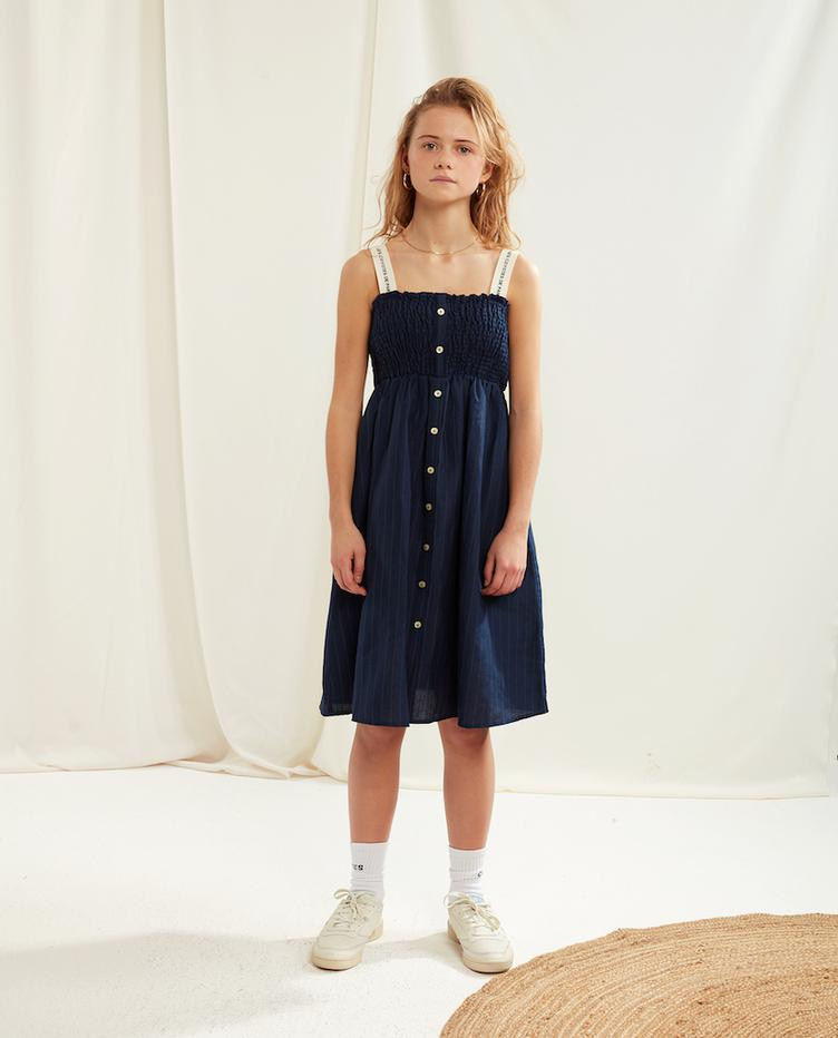 Kleid Ava - Navy With Pinstripe