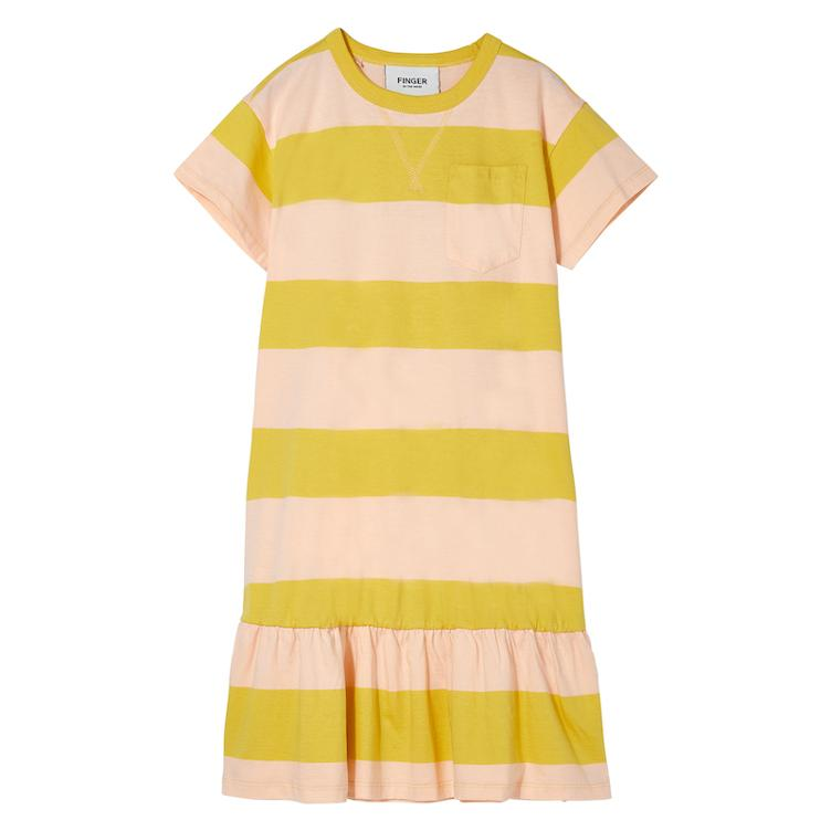Kleid Patti in Mustard/Peach Stripes