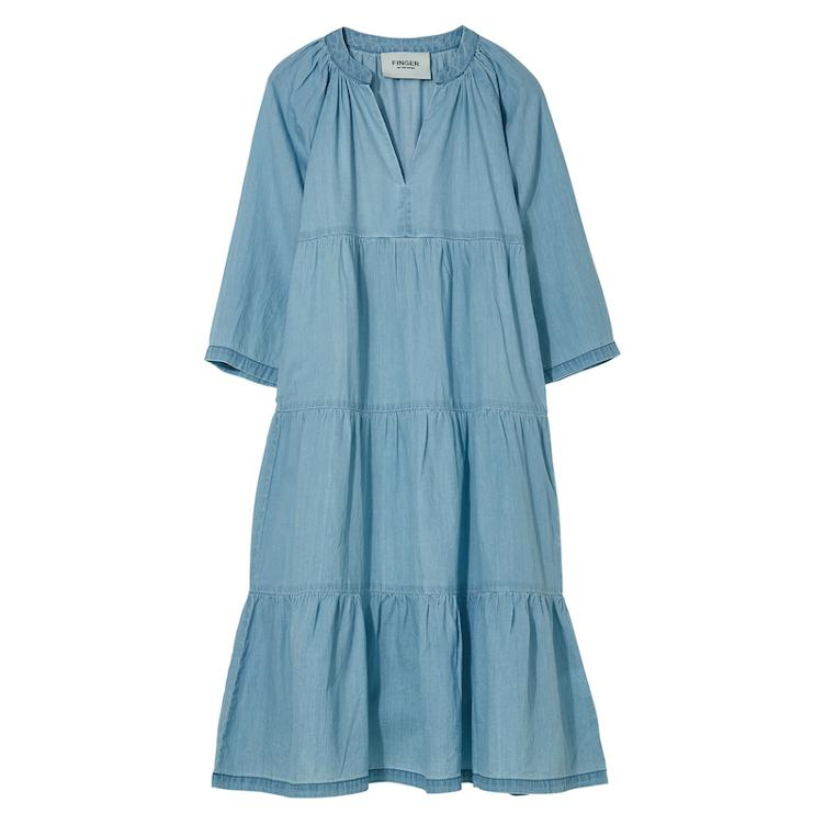 Langes Kleid Rosabeach in Light Blue Denim
