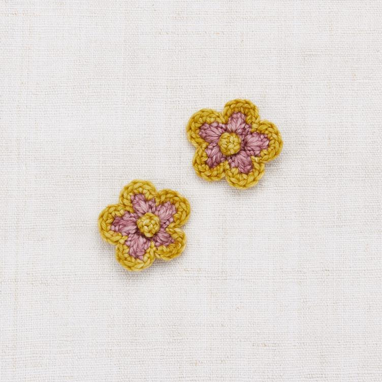 Medium Flower Clip Set - Antique Rose/ Winter Wheat