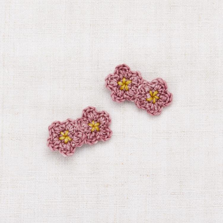 Mini Crochet Flower Clip Set - Antique Rose/ Winter Wheat