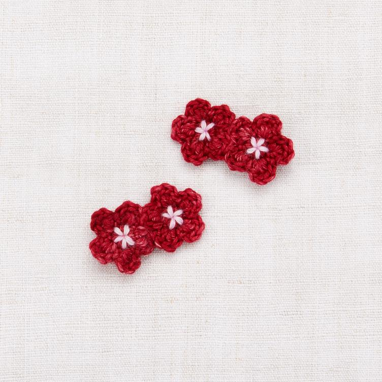 Mini Crochet Flower Clip Set - Berry/ Orchid