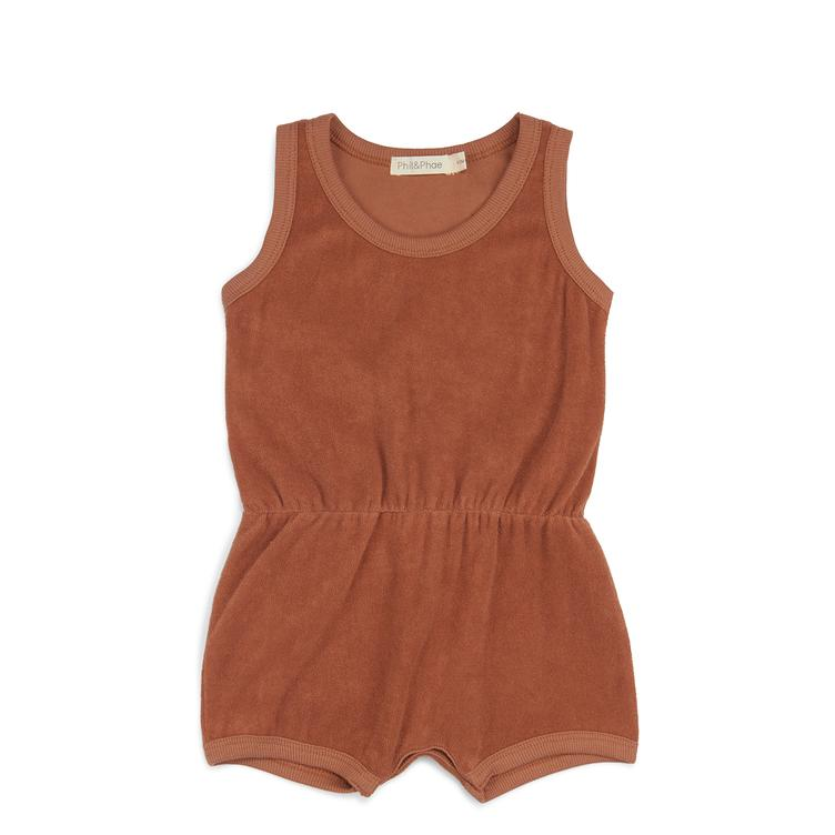 Playsuit in Frotté - Burnt Clay