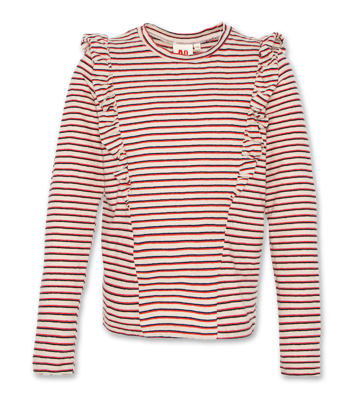 Ruffle striped T-Shirt - red