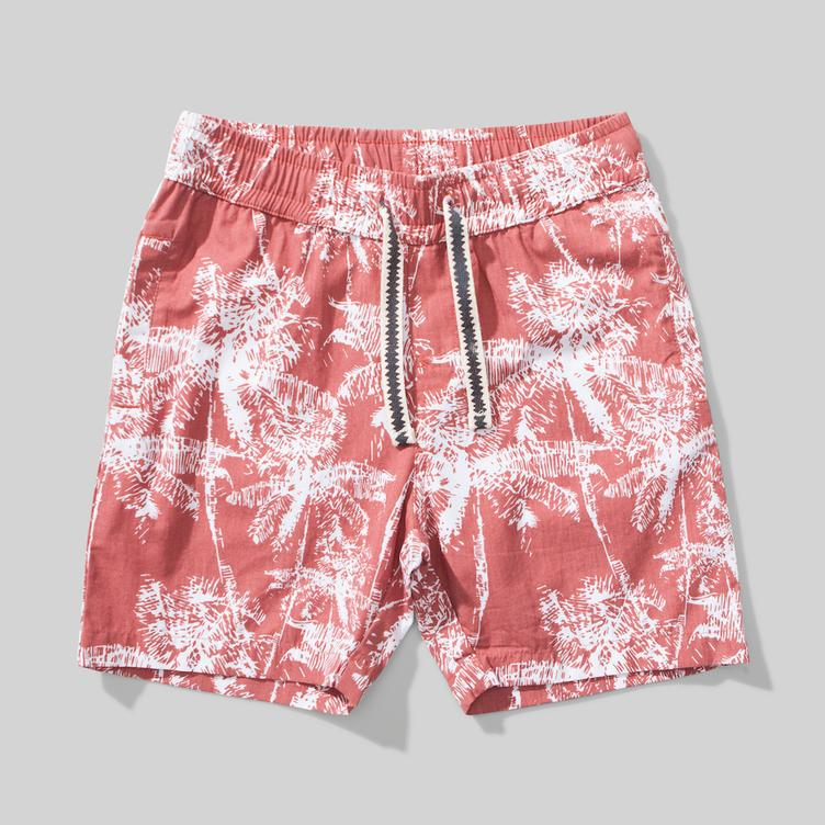 Shorts Shady mit Palmenprint - Washed Red