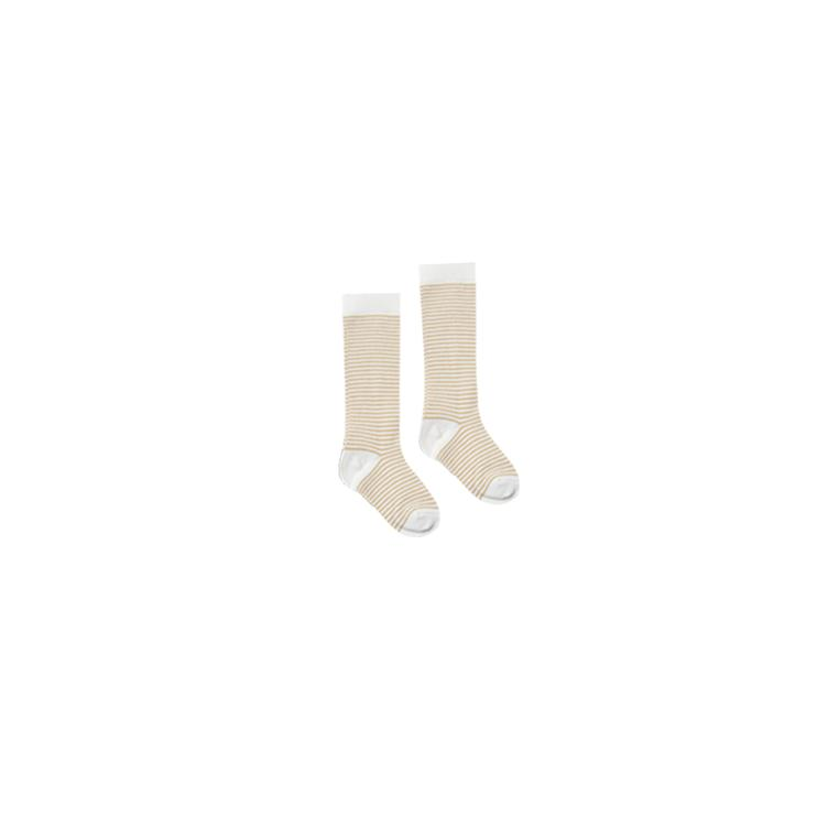 solid knee socks stripe - honey