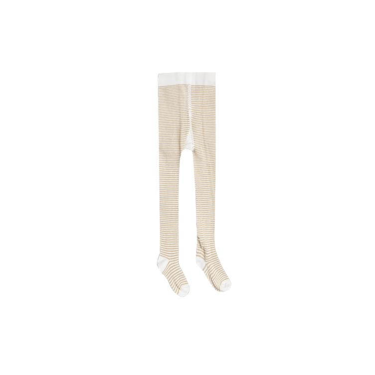 stripe ribbed tights - honey / ivory