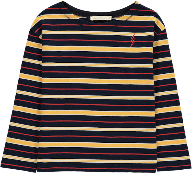 T-Shirt Flash Striped, langärmlig - Marineblau