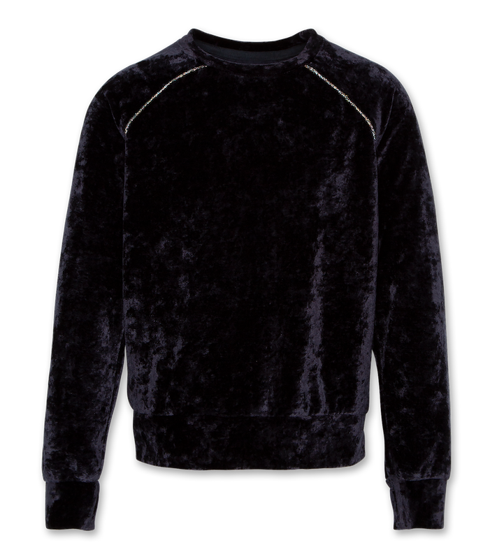 Velvet C-Neck Raglan Sweatshirt - night blue