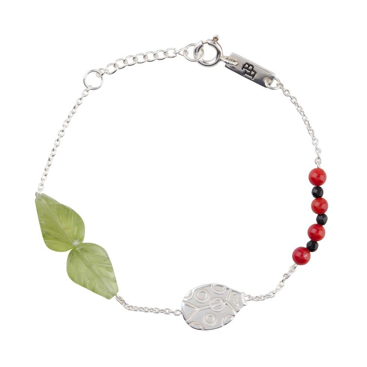 You are my lovely little Ladybug - Armband Tochter - silber mit Steinen